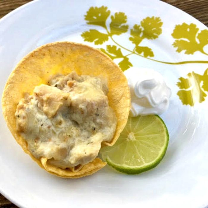 Green Chile Chicken Enchilada Cups - An easy appetizer or light dinner recipe from basilmomma.com