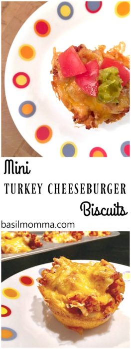 Mini Biscuit Turkey Cheeseburgers - Fluffy biscuit cups, filled with seasoned ground turkey, veggies, and melted cheese. Perfect for a light dinner, after school snacks, or as a game day appetizer. Recipe from @basilmomma