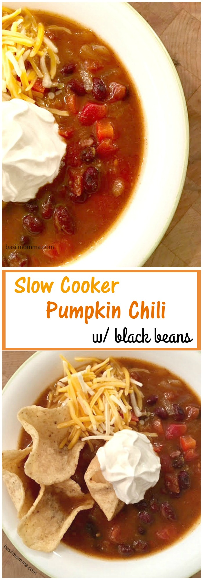 Slow Cooker Black Bean Pumpkin Chili Basilmomma