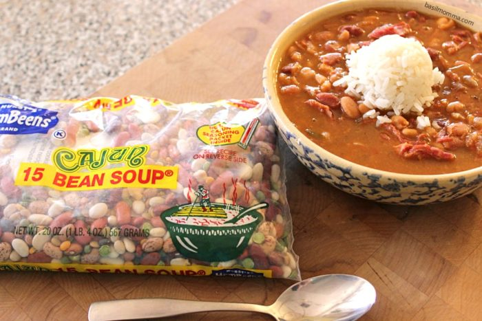 Leftover Turkey Cajun 15 Bean Soup {Slow Cooker Recipe} | Make this slow cooker soup using Hurst Cajun 15 bean soup mix and leftover turkey from Thanksgiving! - recipe on basilmomma.com
