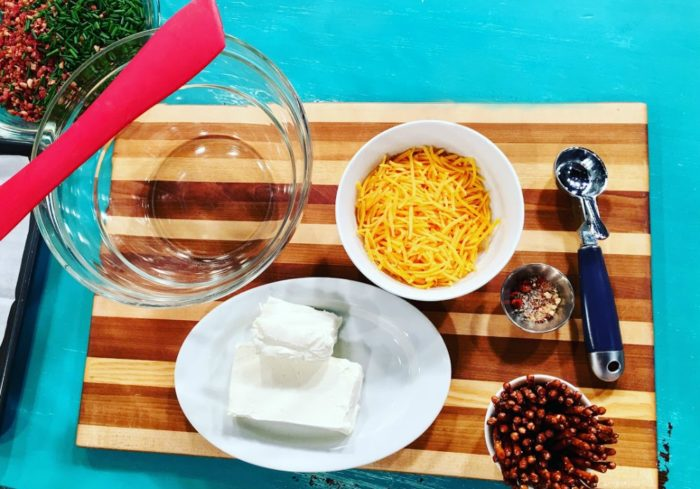 Ingredients needed to make bacon cheddar cheese ball bites | Recipe on basilmomma.com