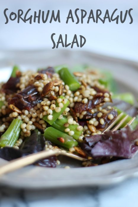 Sorghum Asparagus Salad with Creamy Balsamic Dressing | CookingWithBooks.net