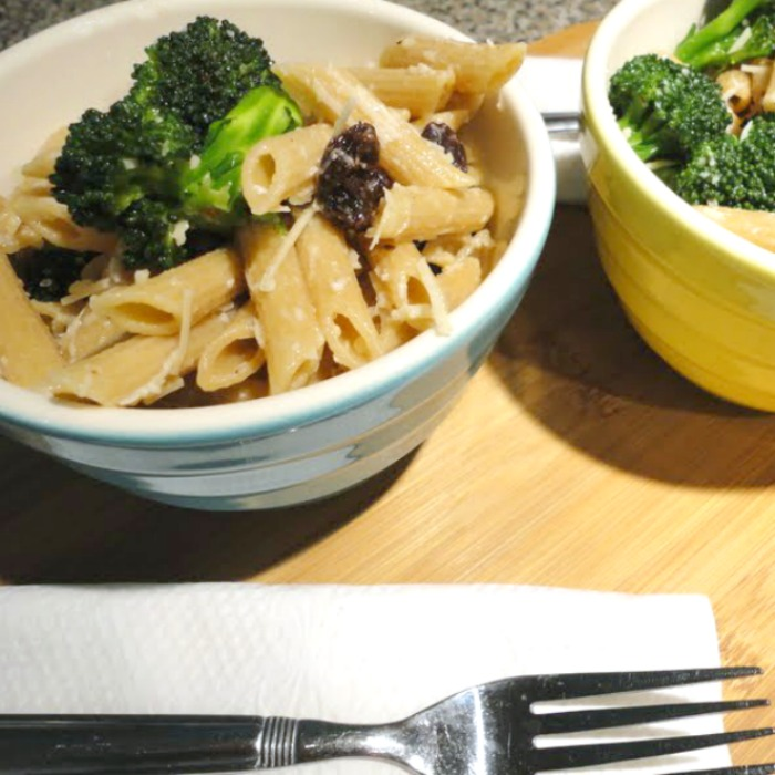 Broccoli raisin pasta salad just might be the easiest side dish you'll ever make. Oh, and this 5 ingredient, healthy pasta salad recipe is one my kids love!