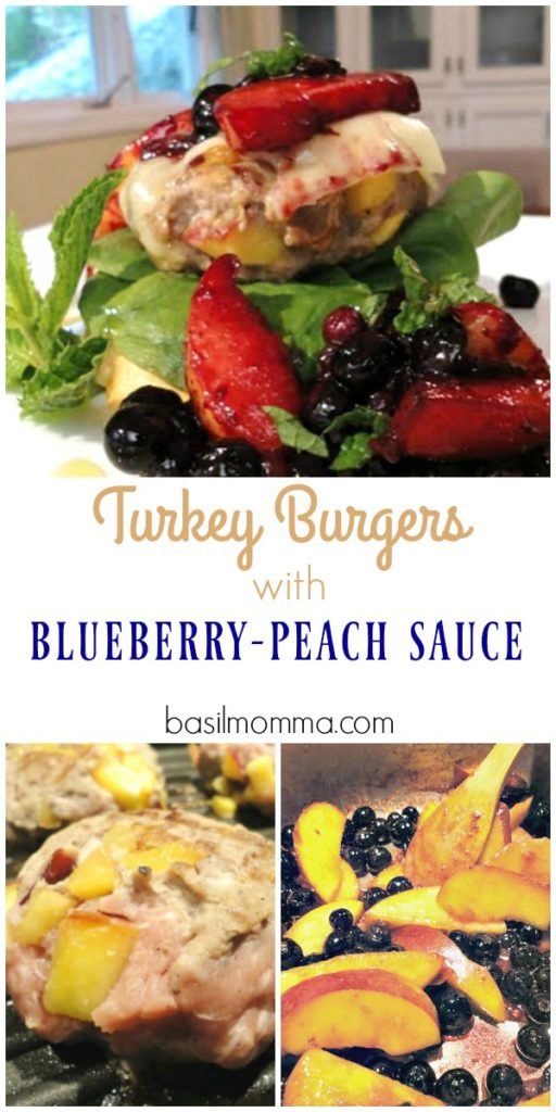 These turkey burgers are stuffed with fresh peaches, grilled, then served on a toasted baguette with fresh greens and a topping of delicious blueberry-peach sauce. Peach stuffed grilled turkey burgers make a flavorful, fresh, healthy dinner recipe.
